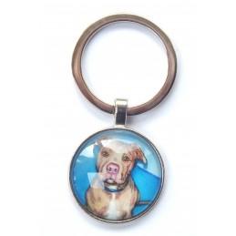 PORTE CLEF METAL ARGENTE : chien Pittbull 27mm (02)