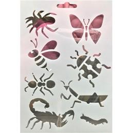 POCHOIR PLASTIQUE 18*12cm : animaux insectes (01)