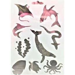POCHOIR PLASTIQUE 18*12cm : animaux marins (02)