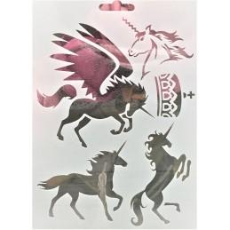 POCHOIR PLASTIQUE 18*12cm : animaux chevaux (04)