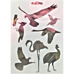 POCHOIR PLASTIQUE 18*12cm : animaux oiseaux (05)