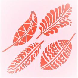 POCHOIR PLASTIQUE 13*13cm : feuilles (12)