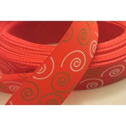 RUBAN TISSU POLYESTER  : rouge motif spirale beige/blanc  largeur 25mm