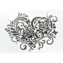 POCHOIR PLASTIQUE 30*21cm : coeur fleuri