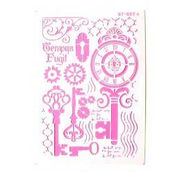 POCHOIR PLASTIQUE 30*21cm : vintage clef et pendule