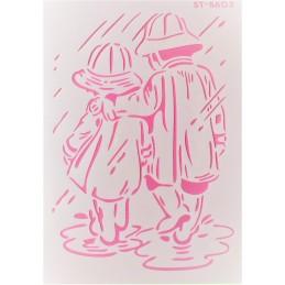 POCHOIR PLASTIQUE 30*21cm : enfants sous la pluie