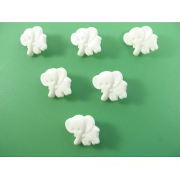LOT 6 BOUTONS : elephant blanc 14mm