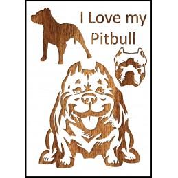 Pochoir A4 en plastique Mylar I love my Pitbull