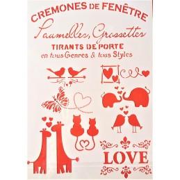 POCHOIR PLASTIQUE 30*21cm : l' amour des animaux