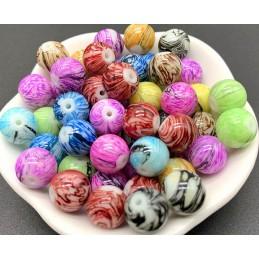 LOT 40 PERLES ACRYLIQUES : rondes multicolores marbrées 8mm (01)