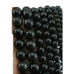 LOT 50 PERLES VERRES : ronde noire avec un leger filet doré 6mm