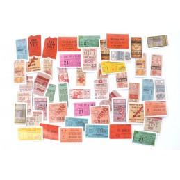 LOT DE 45 STICKERS  ( pack de 4 * 4 cm ): Tickets d'entrée vintage