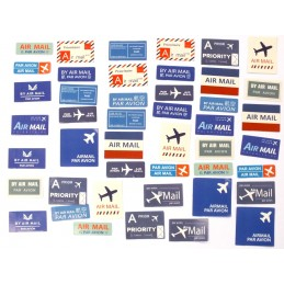 LOT DE 45 STICKERS  ( pack de 4 * 4 cm ): Courrier par avion