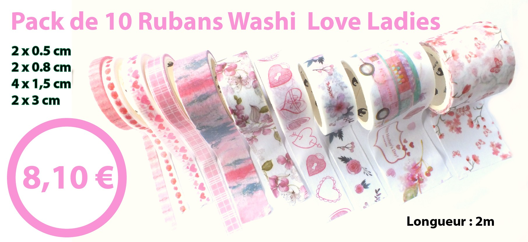 pack rubans washi love ladies